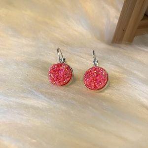 Coral Druzy Earrings